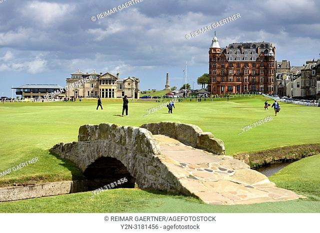 The Royal and Ancient Golf Club of St Andrews clubhouse on the 18th Hole of Old Course St Andrews Links golf course at Swilken Brdige Scotland UK