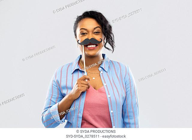african american woman with vintage moustaches