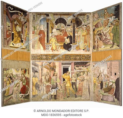 Episodes from the Life of St. John the Baptist, by Giovanni Della Chiesa, 15th Century, torn fresco . Italy, Lombardy, Lodi, Civic Museum