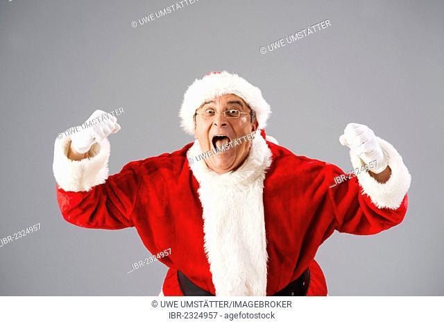 Cheering Santa Claus