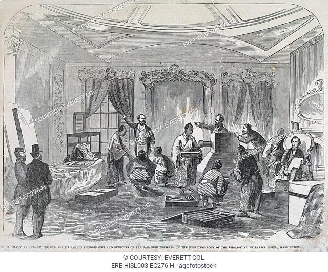 Early photojournalism in 1860. Mathew Brady 1823-1896 photographs, while artists sketch Japanese diplomats at Willard's Hotel, Washington, DC