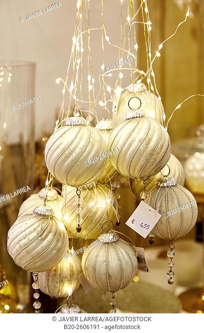 Christmas decorations. Garden center. Hondarribia. Gipuzkoa. Basque Country. Spain