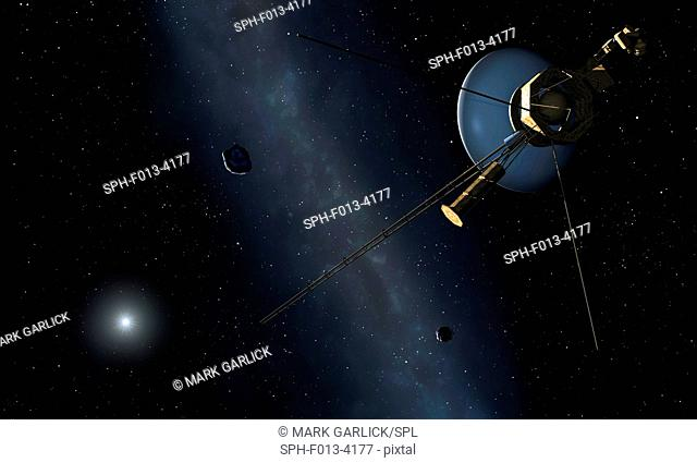 Voyager spacecraft, artwork. Two Voyager spacecraft (Voyager 1 and Voyager 2) were launched in 1977. This timing took advantage of a rare alignment of the giant...