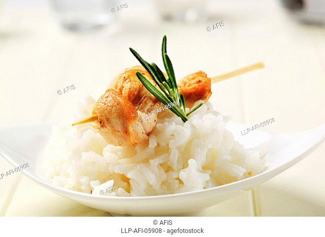 Chicken skewer and rice