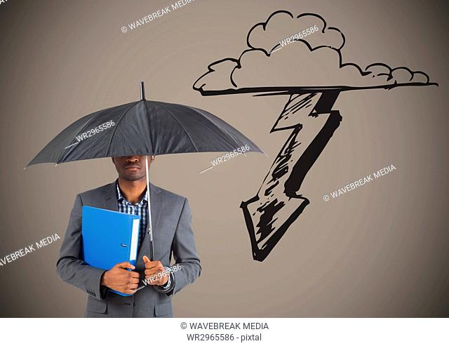 Business man under umbrella against storm graphic and brown background