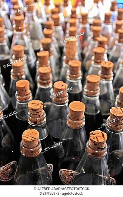 Ratafia liquor bottles to taste, Fira de la Ratafia '09, Santa Coloma de Farners, Catalonia, Spain
