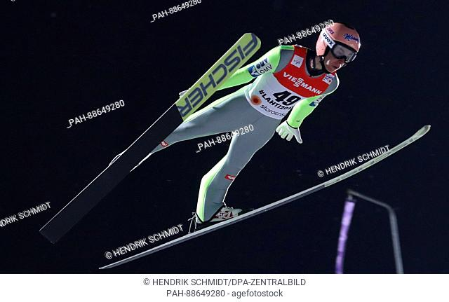 Stefan Kraft from Austria in action during the 1st competition round of the men's large hill event at the Nordic Ski World Championship in Lahti, Finland