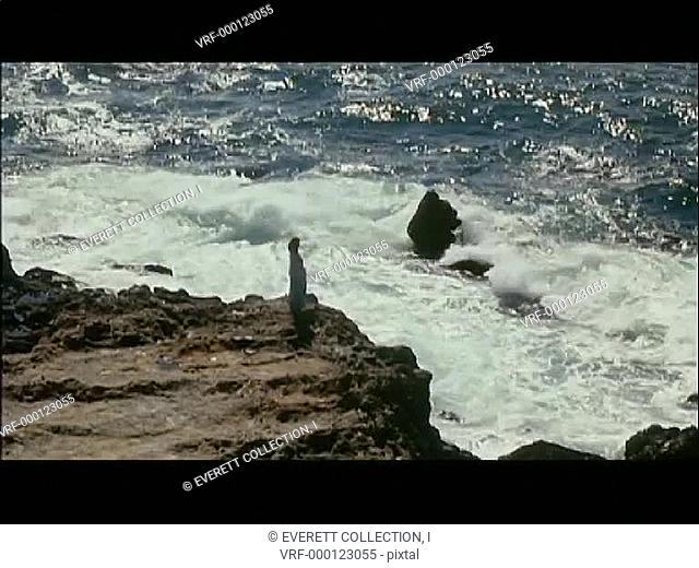 Woman standing on edge of cliff overlooking ocean