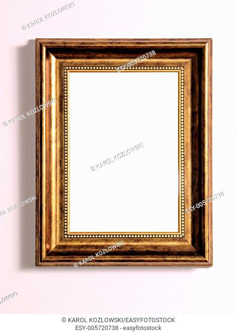 Empty wooden frame with white copy space