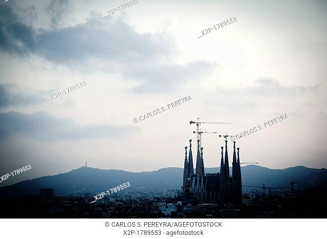 View of Sagrada Familia Church by Antoni Gaudi, one of the most important constructions of Modernism Style, Barcelona, Catalonia, Spain