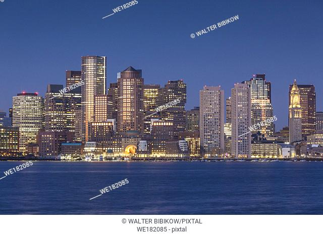 USA, New England, Massachusetts, Boston, city skyline from Boston Harbor, dawn