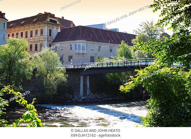 Austria, Styria, Graz, Hauptbrucke, Mur River