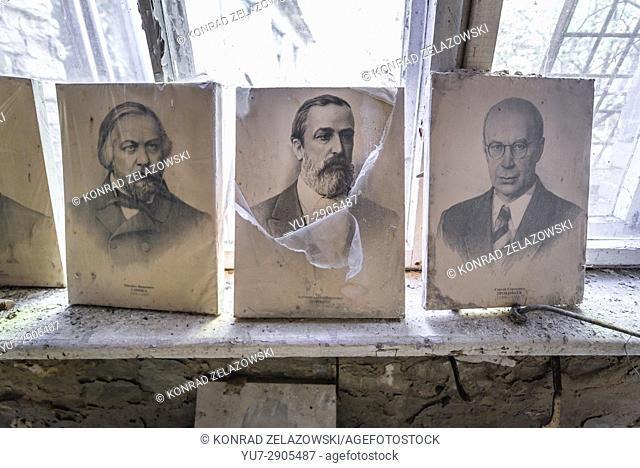 Portraits of Russian composers (Glinka, Borodin and Prokofiev) in abandoned high school of Chernobyl-2 military base, Zone of Alienation in Ukraine