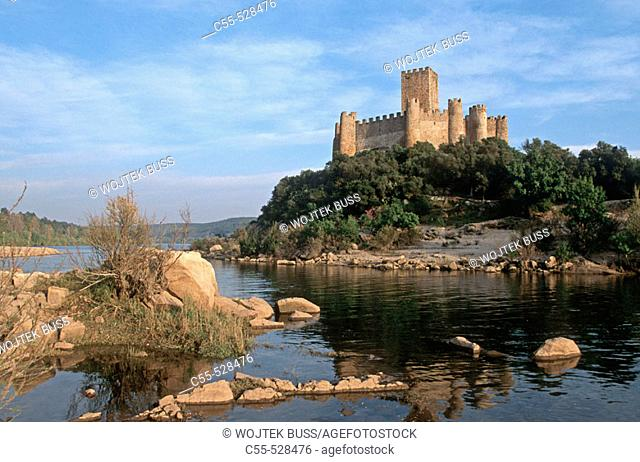 Castle of Almourol, templar knights stronghold situated in a small rocky island in the middle of the Tagus river. Portugal