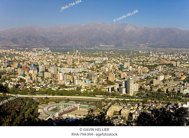 Aerial view of Santiago, Chile, South America