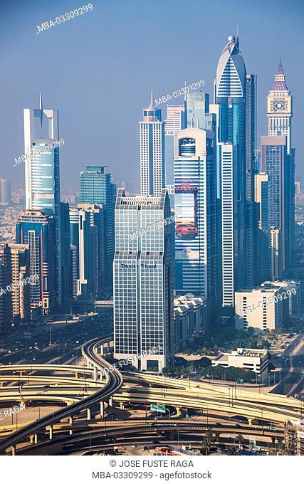 Skyline of Dubai while sheikh Zayed Strasse