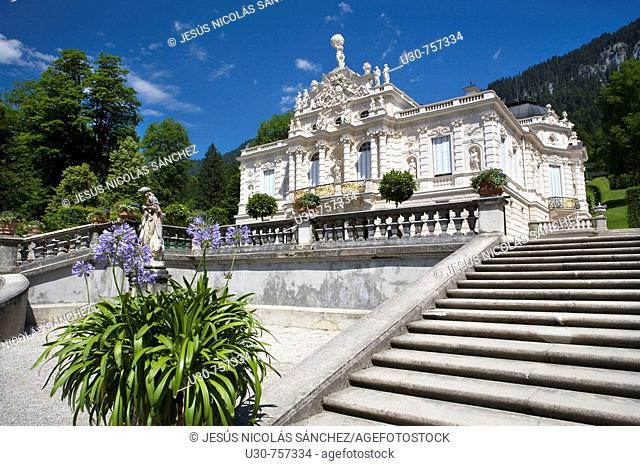 Linderhof Castle, in the nineteenth century, commissioned by Ludwig II of Bavaria. Bavaria, Germany, Europe