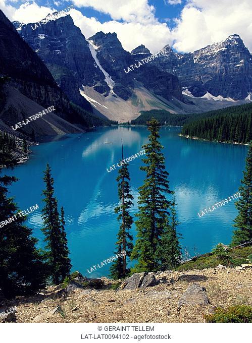 Banff national park. Mountains. Green lake water