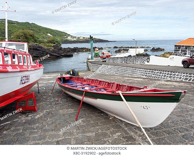Village Calheta de Nesquim, traditional whaling boat in the harbour. Pico Island, an island in the Azores (Ilhas dos Acores) in the Atlantic ocean