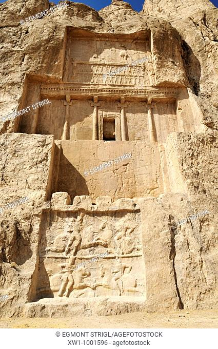 sassanid relief of king Bahram II , achaemenid burial site Naqsh-e Rostam, Rustam near the archeological site of Persepolis, UNESCO World Heritage Site, Persia