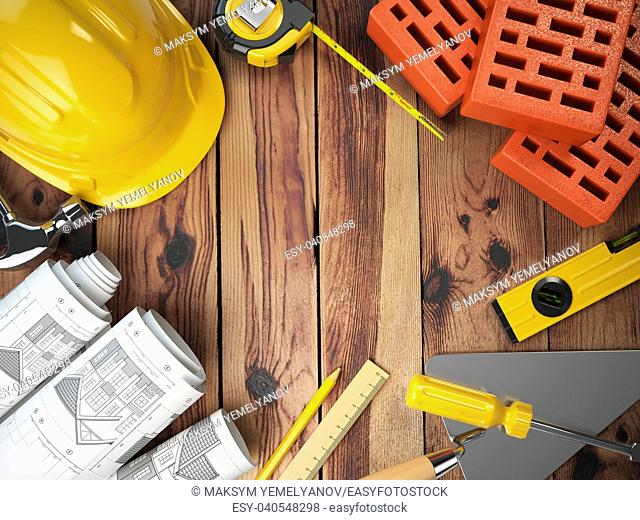 Construction tools on a wooden background. Hard helmet, bricks, trowel, drawing and level with space for text. 3d illustration