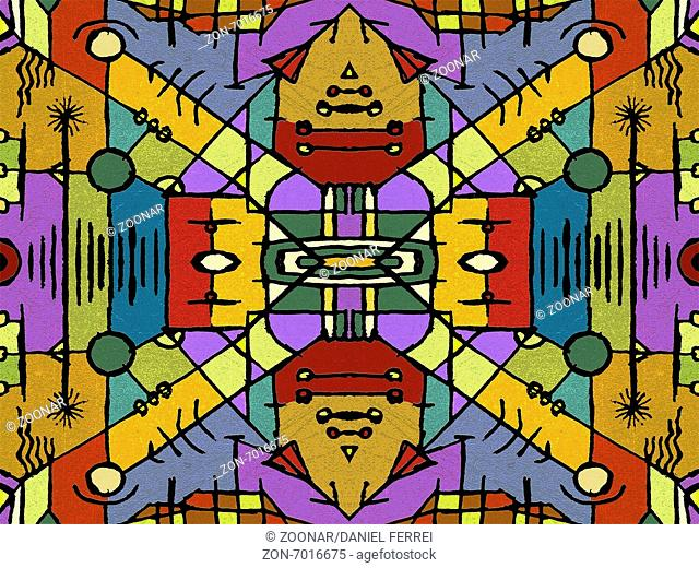 Multicolor Tribal Geometric Seamless Pattern