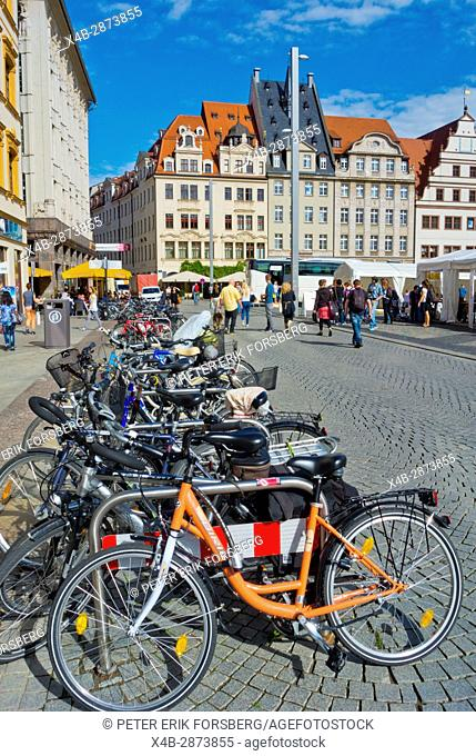 Bicycle parking, Marktplatz, Altstadt, Leipzig, Saxony, Germany