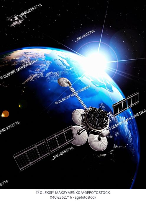 Communication satellites above Earth lit by the rising Sun. Space internet and telecommunications concept. Photorealistic 3D illustration