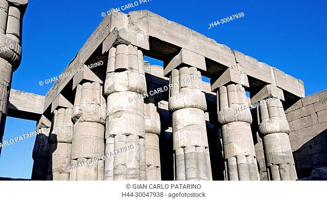 Luxor, Egypt. Temple of Luxor: columns as closed papyrus flower