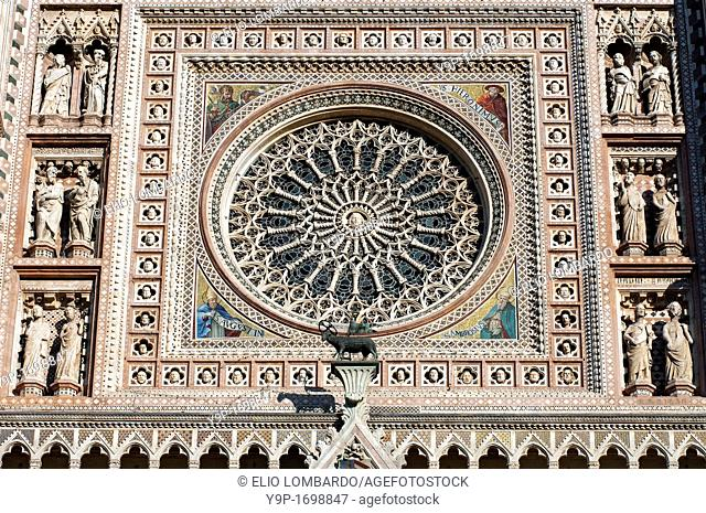 Orvieto Cathedral  Detail of facade  Orvieto  Terni Province  Umbria  Italy
