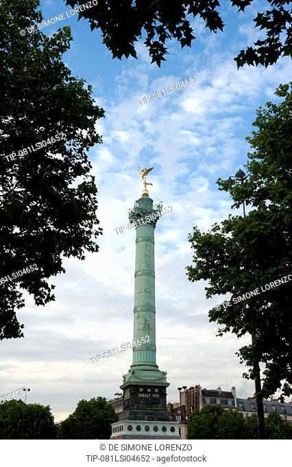 Europe, France, Paris, Bastille Square, Column of July