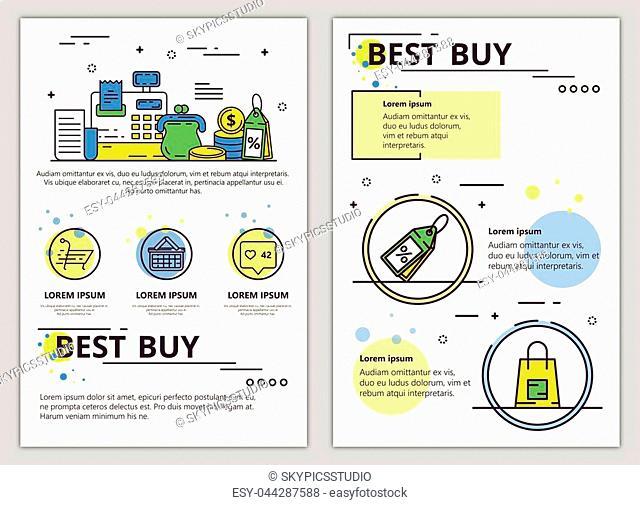 Best buy web banner, poster, flyer, leaflet, brochure template. Vector modern thin line art flat style design illustration
