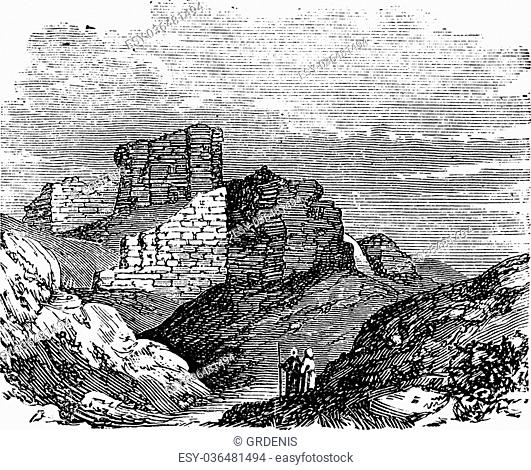Ruins of the Main Palace in Babylonia in Babil, Iraq, during the 1890s, vintage engraving. Old engraved illustration of the Ruins of the Main Palace in...