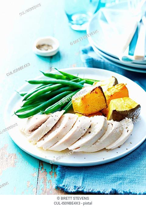 Roast chicken, baked pumpkin, green beans