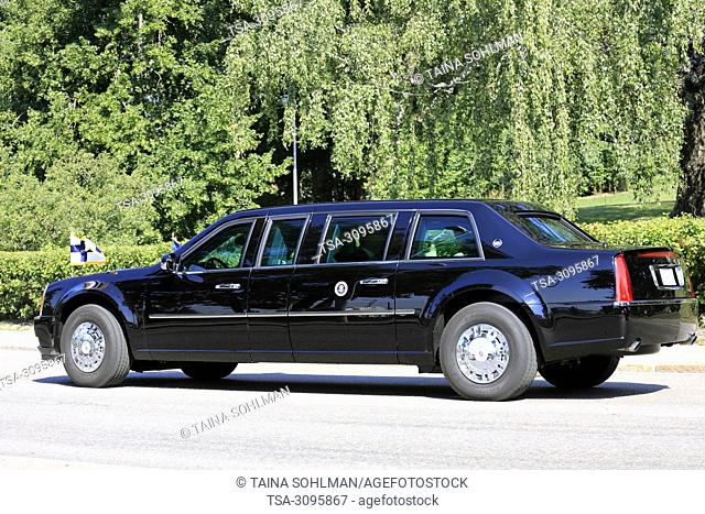 Helsinki, Finland. July 16, 2018. The motorcade of US President Donald Trump and First Lady Melania Trump passes along Ramsaynranta ahead of US and Russian...
