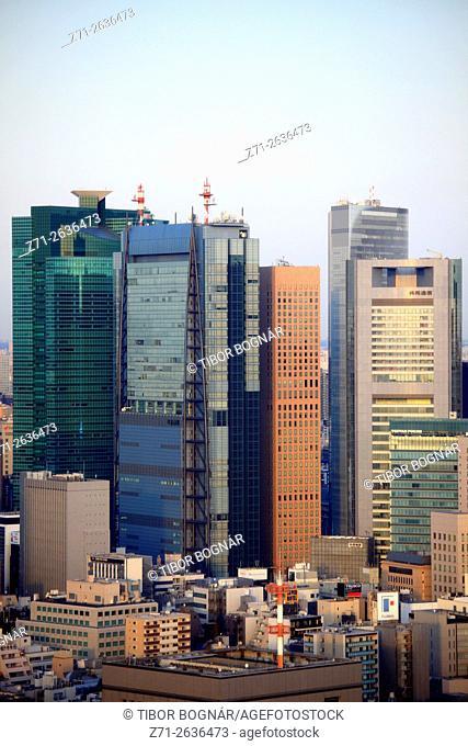 Japan, Tokyo, Shiodome area, skyline, aerial view,