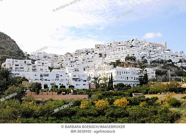 View of the town of Mojácar, Almeria province, Andalusia, Spain
