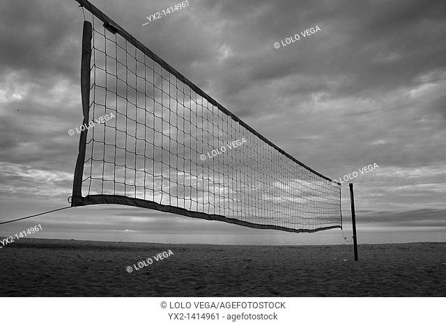 Volleyball net on the beach, Mataro, Catalonia, Spain