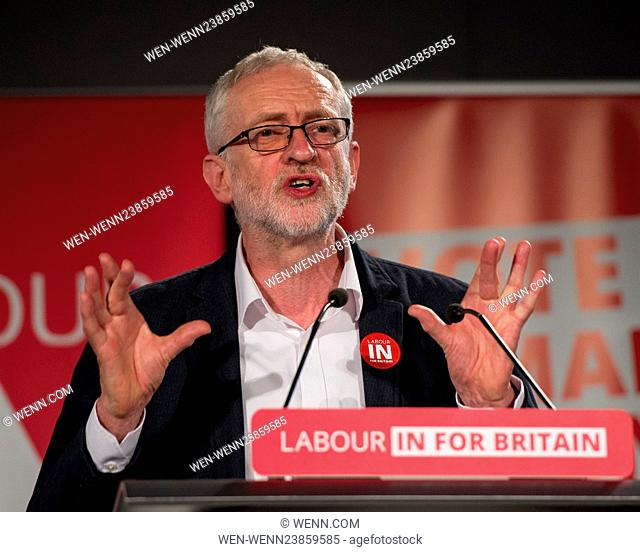 Jeremy Corbyn MP, Leader of the Labour Party and Member of Parliament for Islington North leads a rally of various campaigners who wish the UK to remain in the...