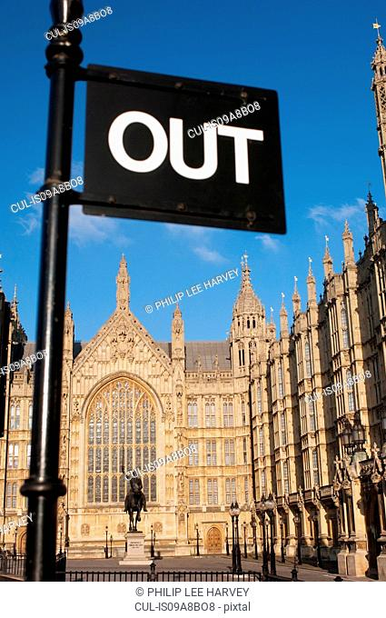 Signpost outside of Westminster Palace and the Houses of Parliament, London, UK