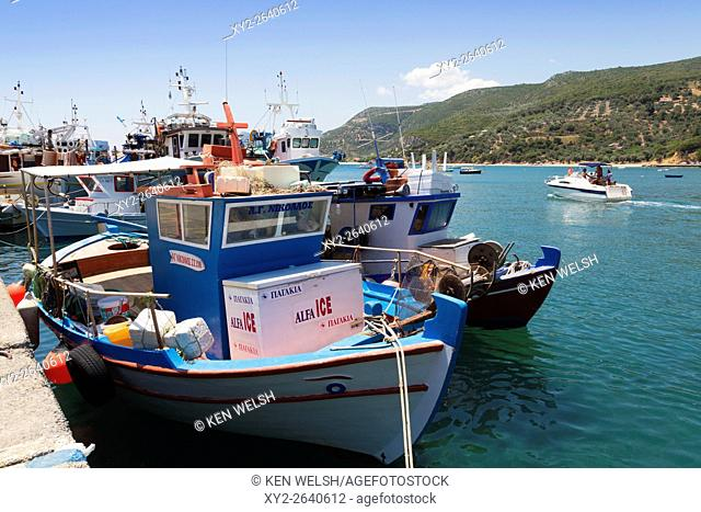 Platanias, Thessaly, Greece. Fishing boats in the village harbour