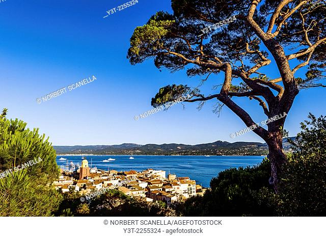 Europe, France, Var, Saint-Tropez. The village and the Gulf of Saint-Tropez