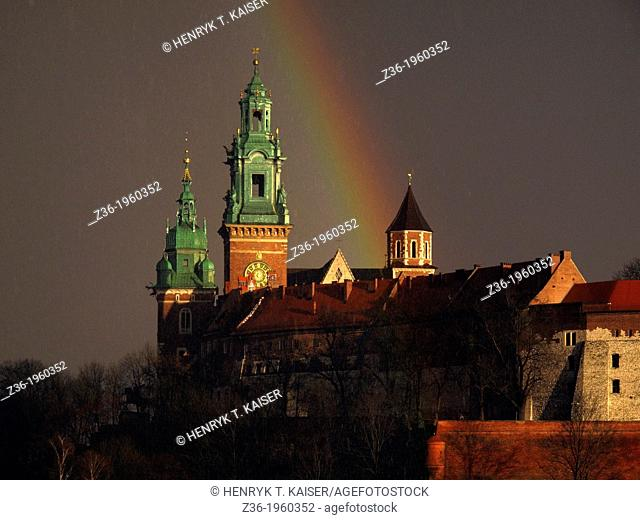 Wawel castle with rainbow, Krakow, Poland