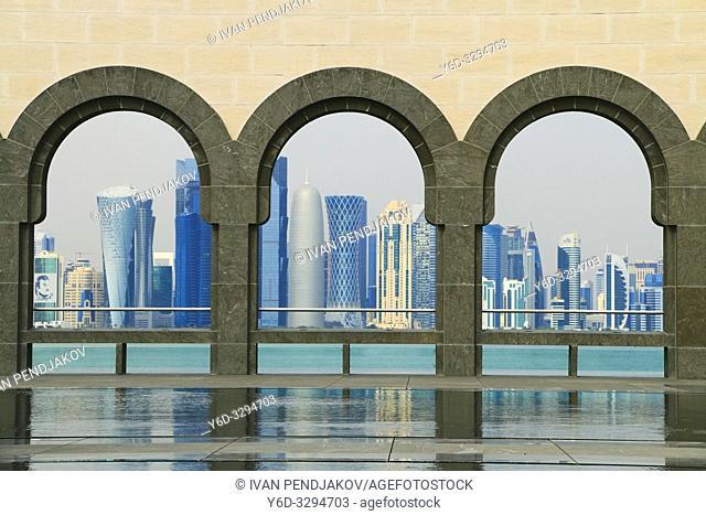 Doha Skyline as Seen from Museum of Islamic Art, Qatar