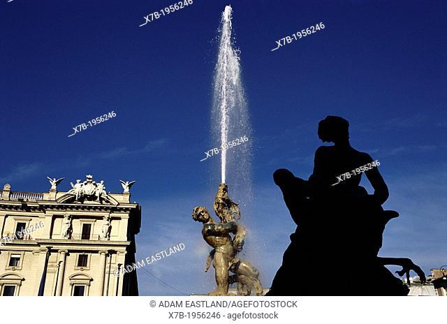 Rome. Italy. Fontana delle Naiadi by Mario Rutelli (1901), Piazza della Repubblica