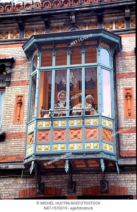 balconies with typical Bruges lace