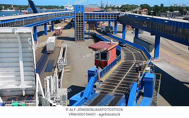 Loading a ferry boat in Swinoujscie harbor, Poland