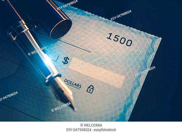 Writing Check Payment Using Elegant Fountain Pen. Executive Desk Business Concept. Corporate Paycheck