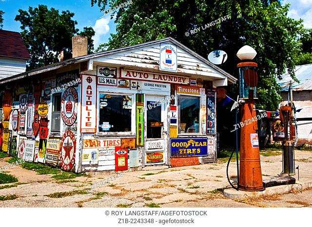 Old gas station on the Lincoln Highway in Belle Plaine, Iowa