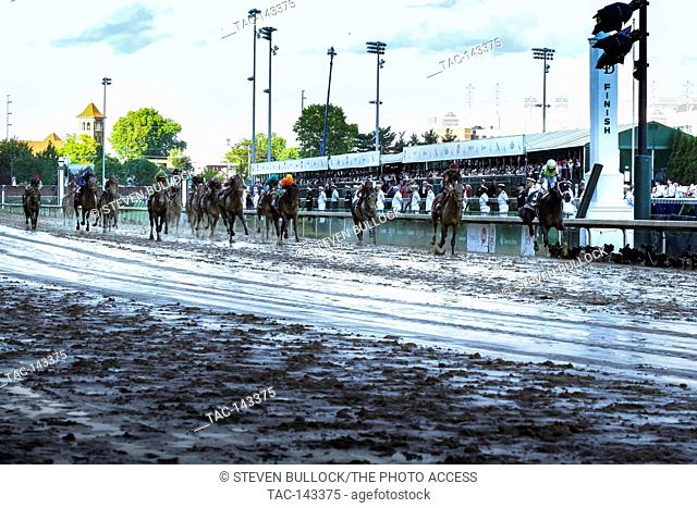 Winning jockey John Velazquaz crossing the finish line on Always Dreaming #5 during the Kentucky Derby winning finish at Churchill Downs 143 Running of The...